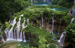 Main Waterfalls in Spring at Plitvice Jezera Croatia